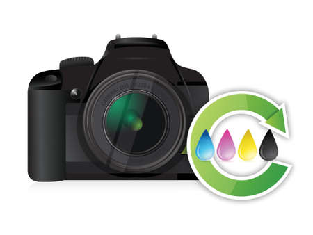 camera cmyk color cycle concept illustration design over white