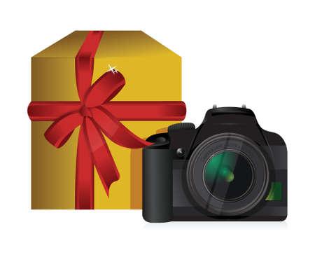 camera gift box illustration design over a white background