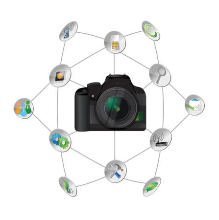 camera settings tools diagram illustration design over white