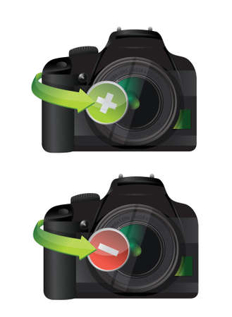 camera plus and minus icons illustration design over a white background