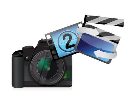 digital slr: camera movies concept illustration design over white background