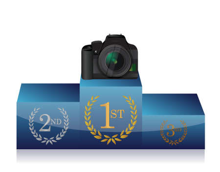 camera winners podium illustration design over a white background