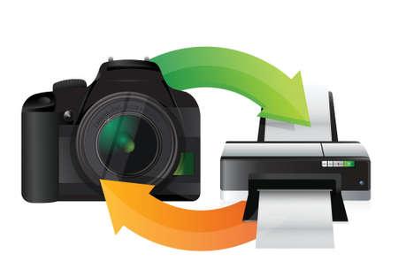 digital slr: camera and printer cycle illustration design over white