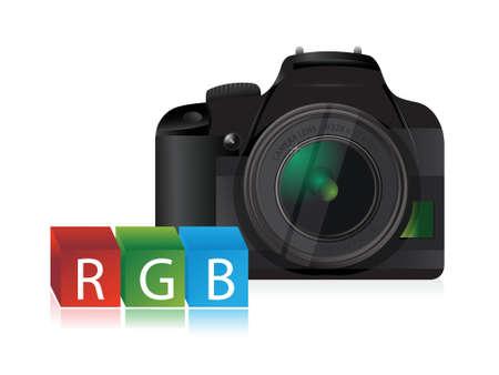 slr camera: camera rgb color cubes illustration design over a white background