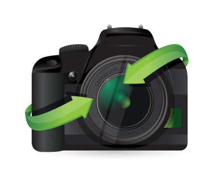 白い背景の上の矢印イラスト デザインを回してカメラ