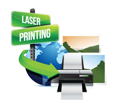 laser printing concept illustration design over white Vector