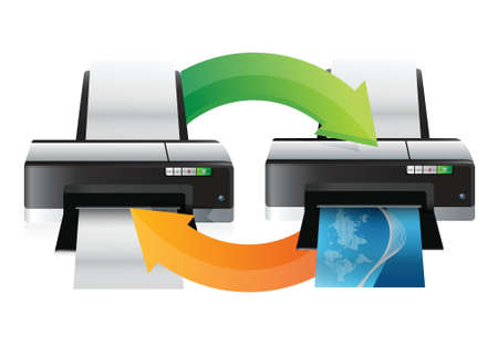 copying: printer working cycle illustration design over white
