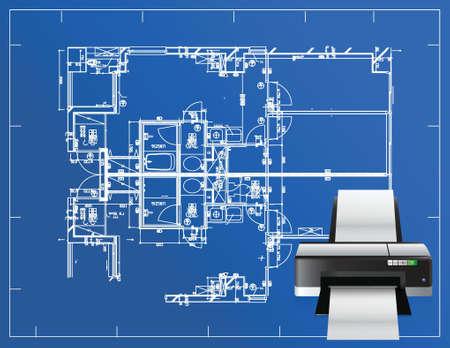 printer blueprint illustration business design concept graphic Illustration