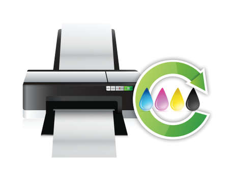 printer cmyk color cycle concept illustration design over white
