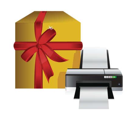 printer gift box illustration design over a white background Vector