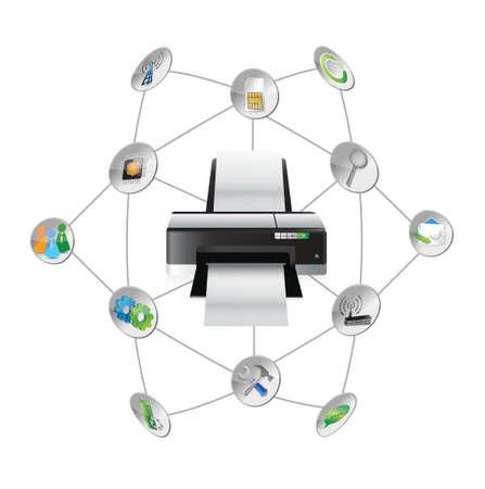 multi media: impostazioni della stampante strumenti schema design illustrazione su bianco