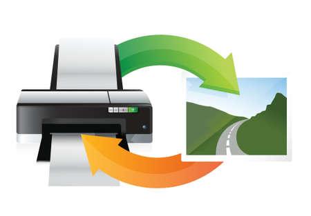 inkjet: printer and print cycle illustration design over white Illustration