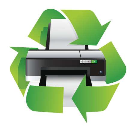 impresora: impresora concepto de reciclaje de diseño ilustración sobre un fondo blanco Vectores