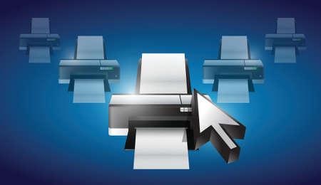 desktop printer: printer cursor selection concept illustration design graphic background