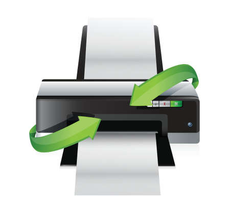 inkjet printer: printer turning arrows illustration design over a white background