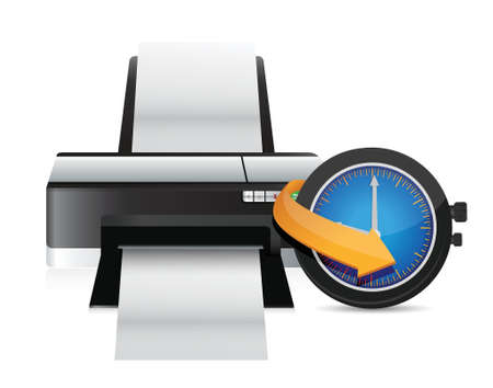 timing: printer timing watch clock illustration design over a white background