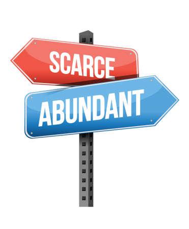 scarce: scarce and abundant road sign illustration design over a white background
