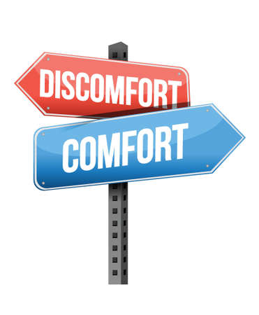 previews: discomfort versus comfort road sign illustration design over a white background