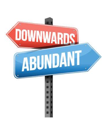 previews: downward and abundant road sign illustration design over a white background