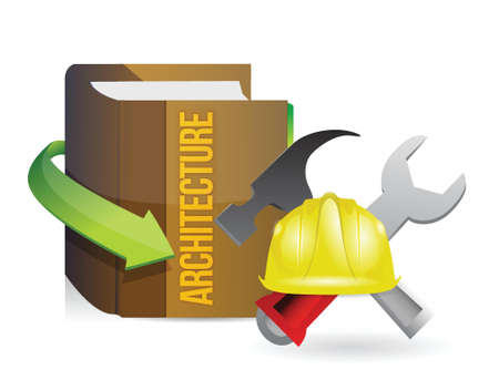 architecture book of knowledge and building tools illustration design