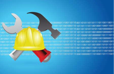 bouwgereedschap en blauwe binaire achtergrondillustratieontwerp Stock Illustratie
