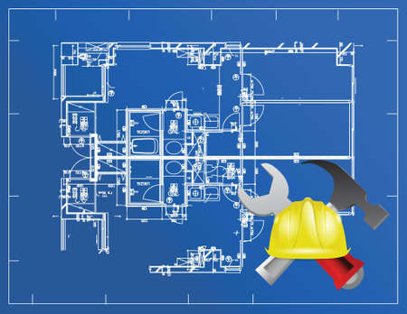 mine site: blue print and building tools illustration design over a blue background