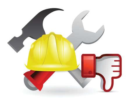 dislike under construction sign illustration design over white Stock Vector - 18806031
