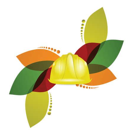 construction helmet and floral design over a white background Stock Vector - 18806053