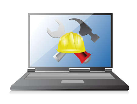 laptop with issues and under construction sign illustration design over white