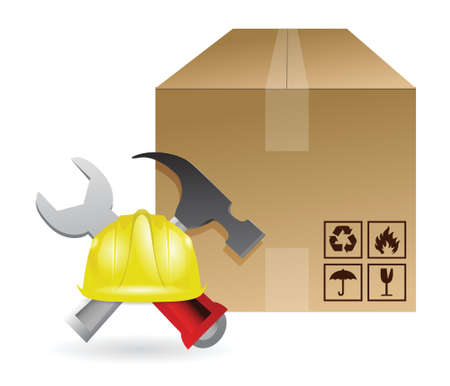 mine site: shipping box and construction tools illustration design Illustration