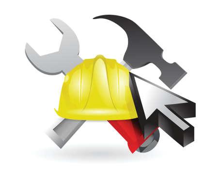 site: cursor and under construction sign illustration design over white