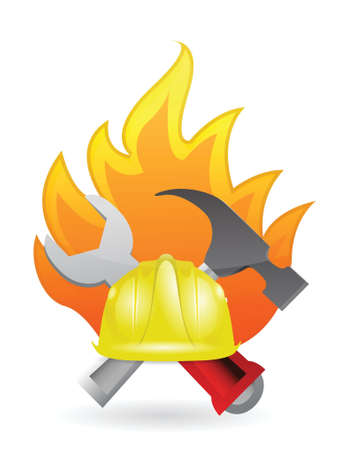 mine site: construction tools on fire illustration design over a white background