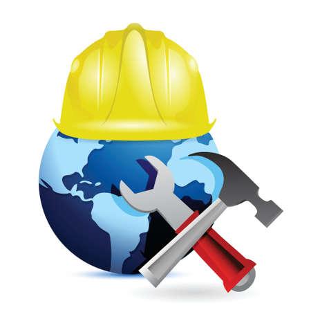safe world: construction concept around the globe. international design over white