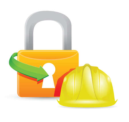 mine site: construction helmet and padlock illustration design graphic