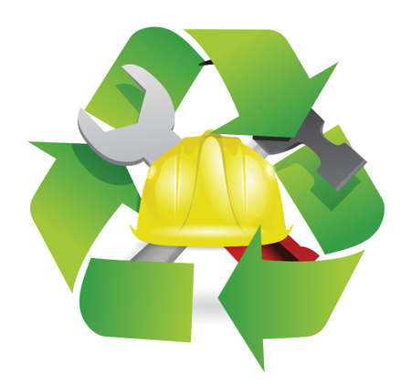 recycle and construction symbol join together illustration design