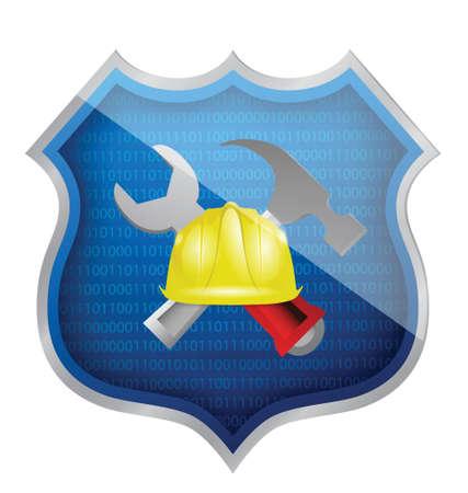 seguridad laboral: escudo construcción diseño ilustración sobre un fondo blanco