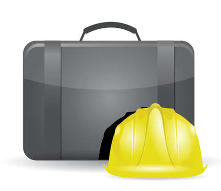 suitcase and construction helmet illustration design over white Vector
