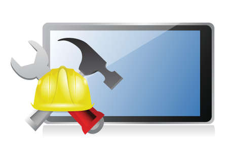 tablet with issues and under construction sign illustration design over white Illustration