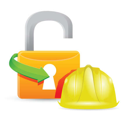 construction helment and unlock padlock illustration design Stock Vector - 18806047