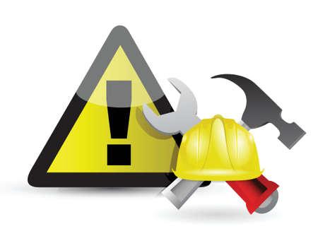 head wear: warning sign illustration design over a white background