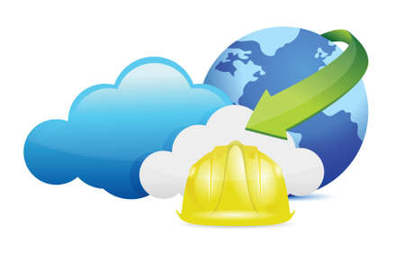 cloud computing issues under construction sign illustration design over white Illustration