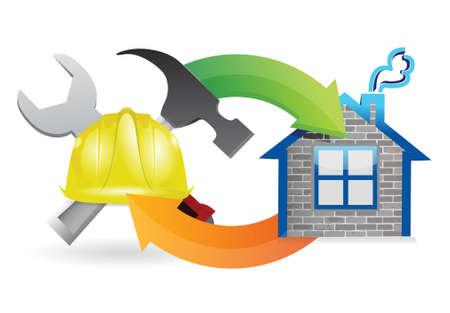 bouwproces in aanbouw teken illustratie ontwerp over white Stock Illustratie