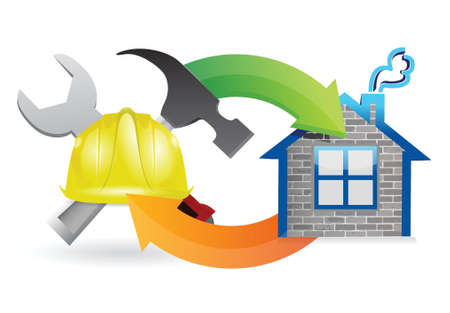 house construction: construction process under construction sign illustration design over white