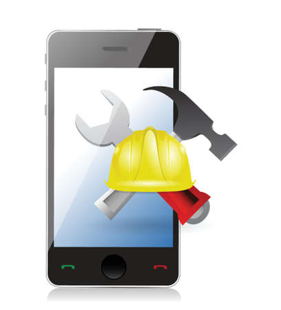 mine worker: phone with issues and under construction sign illustration design over white