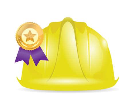 new job: award ribbon under construction sign illustration design over white Illustration