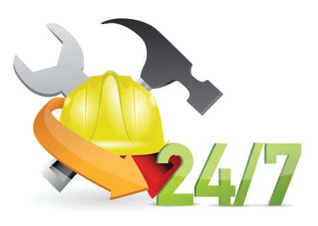 costumer service under construction sign illustration design over white Stock Vector - 18806045