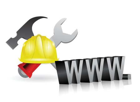 internet onder constructie teken illustratie ontwerp op wit