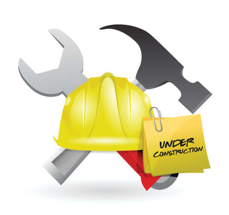 post it under construction sign illustration design over white Stock Vector - 18806071