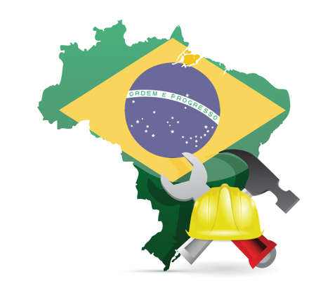 brazil under construction illustration design over a white background Stock Vector - 18806050