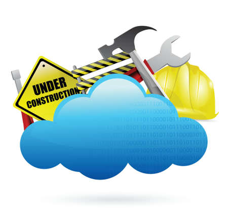 mine site: under construction cloud computing concept illustration design over white